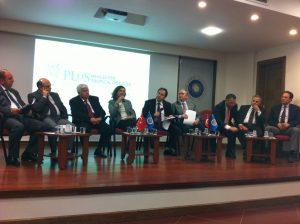 PLOS NTD's Serap Aksoy talks with a panel of editors at Ankara University