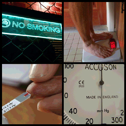 Image Credit: (Clockwise from top left)  Image Credit: No Smoking (Top Left): Satish Krishnamurthy, Flickr; Body Scale (Top Right): Daniel Oines, Flickr; Finger Test (Bottom Left): Biswarup Ganguly, Wikimedia Commons; Gauge (Bottom Right): Bernard Goldbach, Flickr