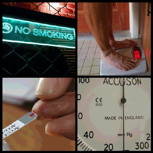 Image Credit: (Clockwise from top left)  Image Credit: No Smoking (Top Left): Satish Krishnamurthy, Flickr; Body Scale (Top Right): Daniel Oines, Flickr; Finger Test (Bottom Left): Biswarup Ganguly, Wikimedia Commons; Gauge (Bottom Right): Bernard Goldbach, Flickr