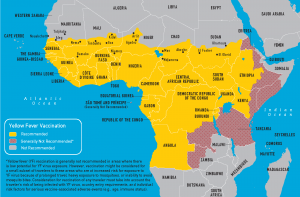 Endemic regions of yellow fever in Africa (Image Credit: CDC)