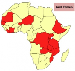 The map shows in red the countries assisted by SCI from 2010-2016